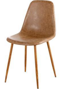 Cadeira Jacob Pu Marrom Com Pes Palito Cor Nogueira - 44989 - Sun House