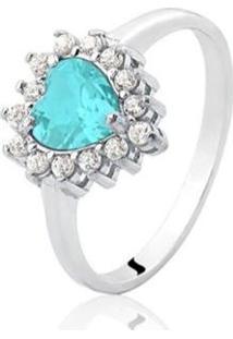 Anel De Prata Coração Zircônia Azul Claro - Feminino