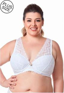 Sutiã Dukley Lingerie Plus Size De Renda Com Pedra - Feminino-Branco