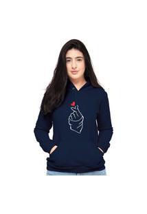 Blusa Moletom Feminino Azul Marinho Coracao