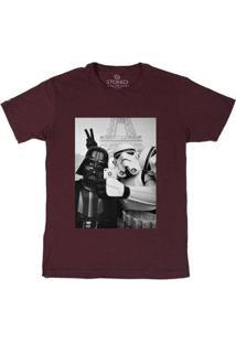 Camiseta Stoned Star Wars Selfie Masculina - Masculino-Bordô