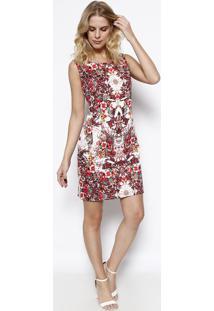 Vestido Floral - Branco & Vermelho - Vip Reservavip Reserva