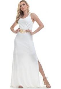 Vestido Clara Arruda Longo Fenda Lateral Feminino - Feminino-Off White