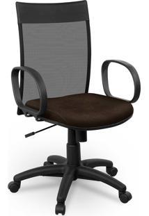 Cadeira Diretor Tela Giobel Braã§O Corsa Marrom - Marrom - Dafiti