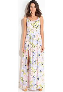 Vestido Quintess De Alças Largas Floral Lilás