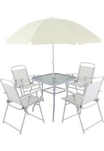 Conjunto Para Jardim Bel Lazer 85400 Miami Mesa Com 4 Cadeiras E Ombrelone Branco