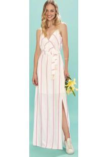 Vestido Branco Longo Listrado Fenda Enfim