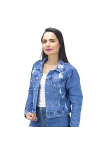 Jaqueta Jeans Destroyed Com Bolso Sal E Pimenta
