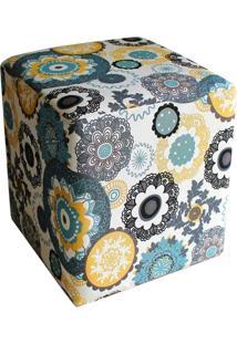 Puff Decorativo Dado Quadrado Estampado Floral D24 - D'Rossi