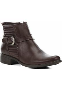 Bota Couro Cano Curto Shoestock Matelassê Feminina - Feminino-Café