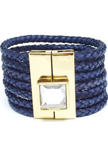 Bracelete Couro Alice Monteiro Trançado Pedra Azul-Marinho.