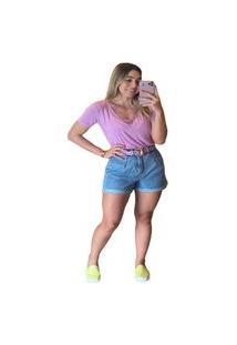 Bermuda Fem Pregas Multi Ponto Denim Jeans