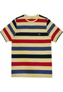 Camiseta Pau A Pique Listrada - Masculino-Amarelo