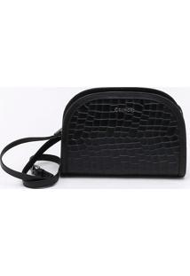 Bolsa Shoulder Bag Couro Croco Preta