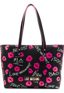 Love Moschino Lip Print Shopping Tote - Preto