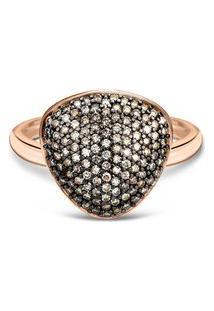 Anel Bold Ouro Vivara E Diamantes Brown Grande