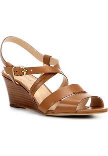 Sandália Anabela Couro Shoestock Baixa Feminina - Feminino-Caramelo
