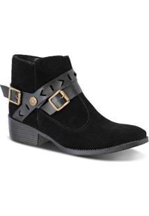 Bota Prime Shoes Camurça Com Fivela Cano Curto Feminina - Feminino-Preto