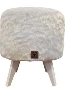 Puff Pã© Palito Redondo Alce Couch Pelinho Pelucia Branco 40Cm - Branco - Dafiti