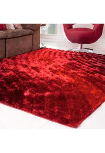Tapete Silk Shaggy 3D Bordô Degradê 50Cm X 1,00M
