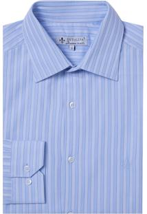 Camisa Dudalina Manga Longa Fio Tinto Maquinetada Listrado Masculina (Azul Claro, 42)