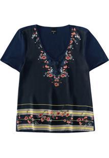 Blusa Floral Com Cetim Malwee