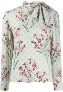 Redvalentino Blusa Com Laço Na Gola E Estampa Floral - Verde
