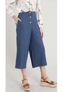 de88a49b7 Calça Pantacourt Feminina Em Linho Com Botões Azul Marinho