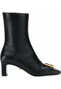 Versace Ankle Boot Greca De Couro Com Fivela E Salto 60Mm - Preto