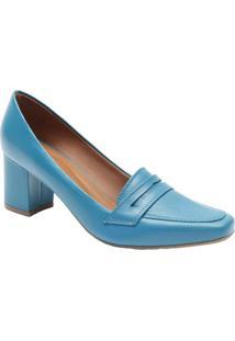 a2a6cb9ad ... Sapato Tradicional Em Couro Com Pespontos- Azul Petróleole Rossi