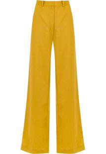 3ac2d43763 ... Andrea Marques Calça Pantalona Bolsos Faca - Amarelo