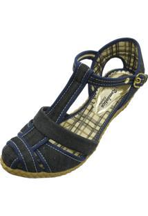 Sandália Romântica Calçados Anabela Xadrez Azul Marinho