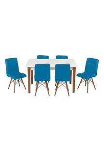 Conjunto Mesa De Jantar Luiza 135Cm Branca Com 6 Cadeiras Gomos - Turquesa
