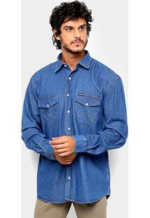 Camisa Jeans Wrangler Manga Longa Detalhe Bolso Masculina - Masculino