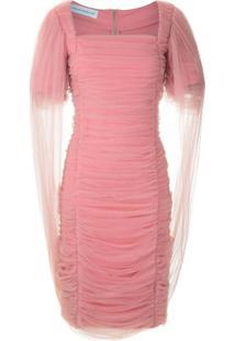 Gloria Coelho Vestido Curto Em Tule Drapeado - Rosa