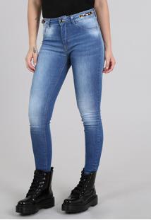 Calça Feminina Sawary Skinny Cropped Com Faixa Animal Print Azul Médio