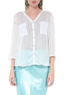 Camisa Listrada - Moché - Feminino-Branco