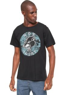 Camiseta Fiveblu Manga Curta Estampada Preta
