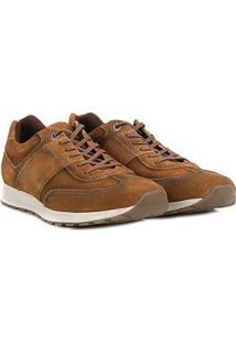 Tênis Couro Shoestock Jogging Masculino - Masculino-Caramelo