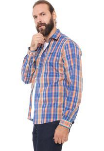 Camisa Colcci Slim Xadrez Azul/Laranja