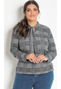 Blusa Plus Size Com Amarração Na Gola Xadrez