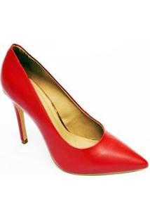 Sapato Scarpin Couro Casual Christian Fischer Feminino - Feminino-Vermelho