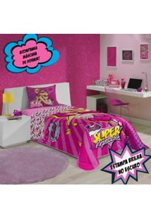 Colcha Solteiro Infantil Lepper Barbie Super Princesa Matelassê - Dupla Face