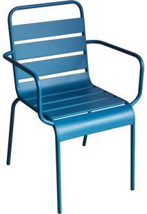 Cadeira Tropical Com Braços Azul