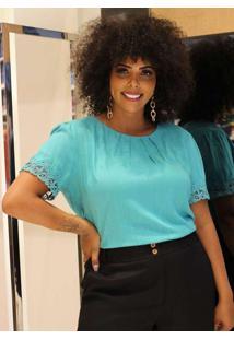 Blusa Almaria Plus Size Enois Lisa Azul