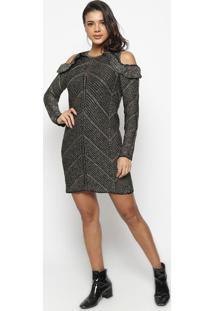 Vestido Com Recortes & Fios Metalizados- Preto & Douradowool Line