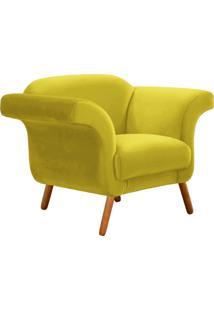 Poltrona Decorativa Troia Suede Amarelo Pés Palito - D'Rossi