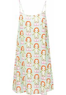 Sandy Liang Vestido Slip Estampado - Margot Print Mint