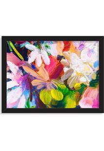 Quadro Decorativo Flores Abstratas Em Textura Preto - Médio