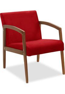 Poltrona Decorativa Malu Suede Vermelho - D'Rossi